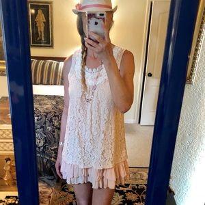 Mystree flirty girly pale peach dress or top, sz L